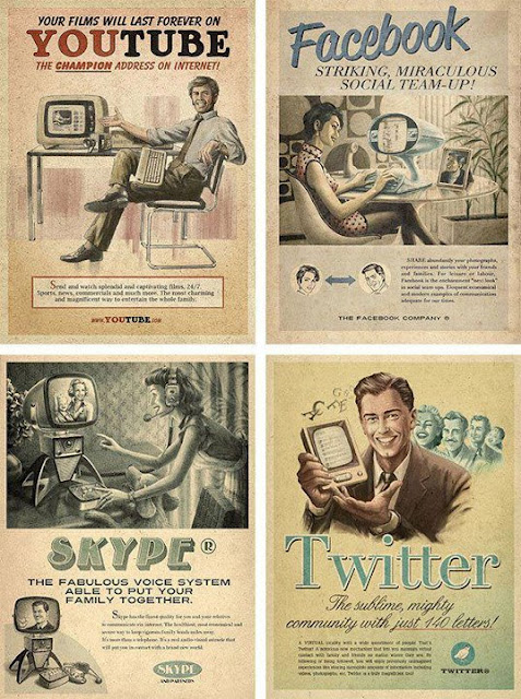 You Tube, Facebook, Twitter, Skype posters vintage
