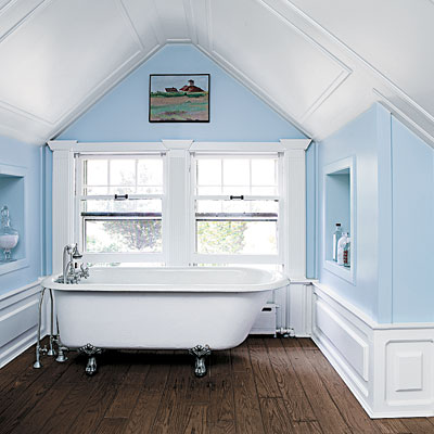 Attic works attic bathrooms for Finished bathroom ideas