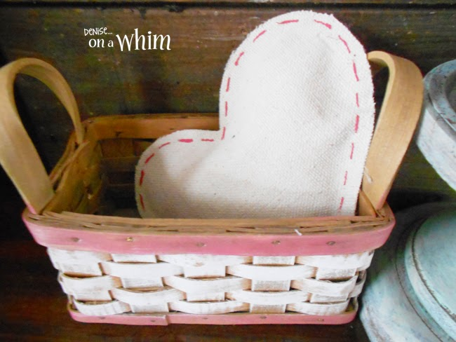 Drop Cloth Hearts with Faux Stitching from Denise on a Whim