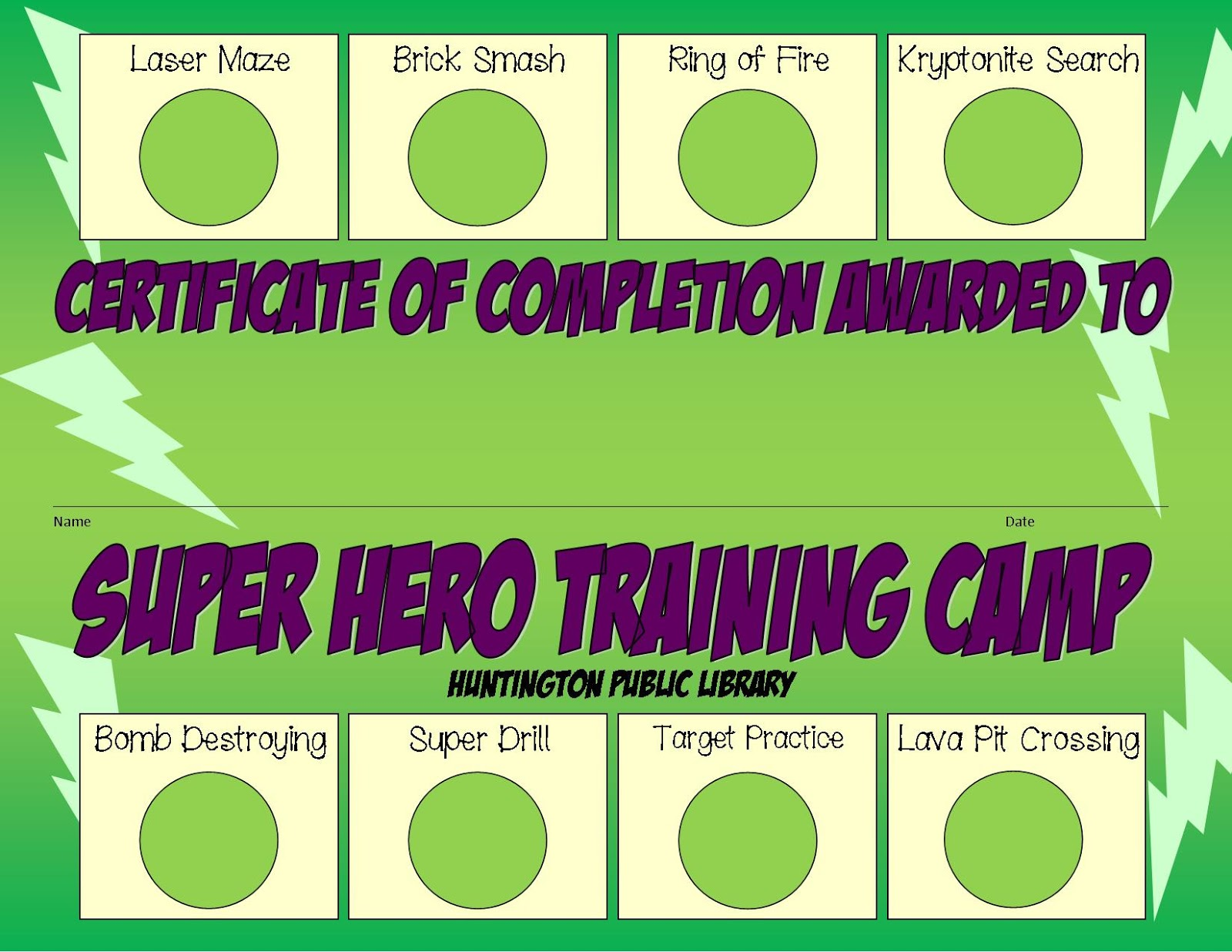 Librarylaura super hero training camp we also decided that as the kids completed each obstacle they would earn a star sticker in the given spot on their certificate here is what that looked 1betcityfo Image collections