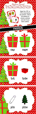 This FREE Christmas-themed game is the perfect way to get your students to practice fine-tuning their ability to distinguish between similarly spelled words and practice reading CVC and CVCe words. Students can segment the CVC or CVCe word at the bottom of the slide, then move the present to reveal a picture and see if they read the word correctly!