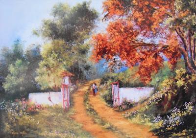 paisajes-al-oleo-con-casas-viejas