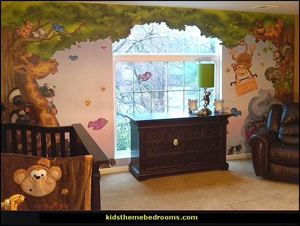Image gallery jungle theme wall murals for Baby jungle mural