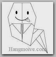 Bước 11: Vẽ mắt, miệng để hoàn thành cách xếp con ma Halloween bằng giấy theo phong cách origami.