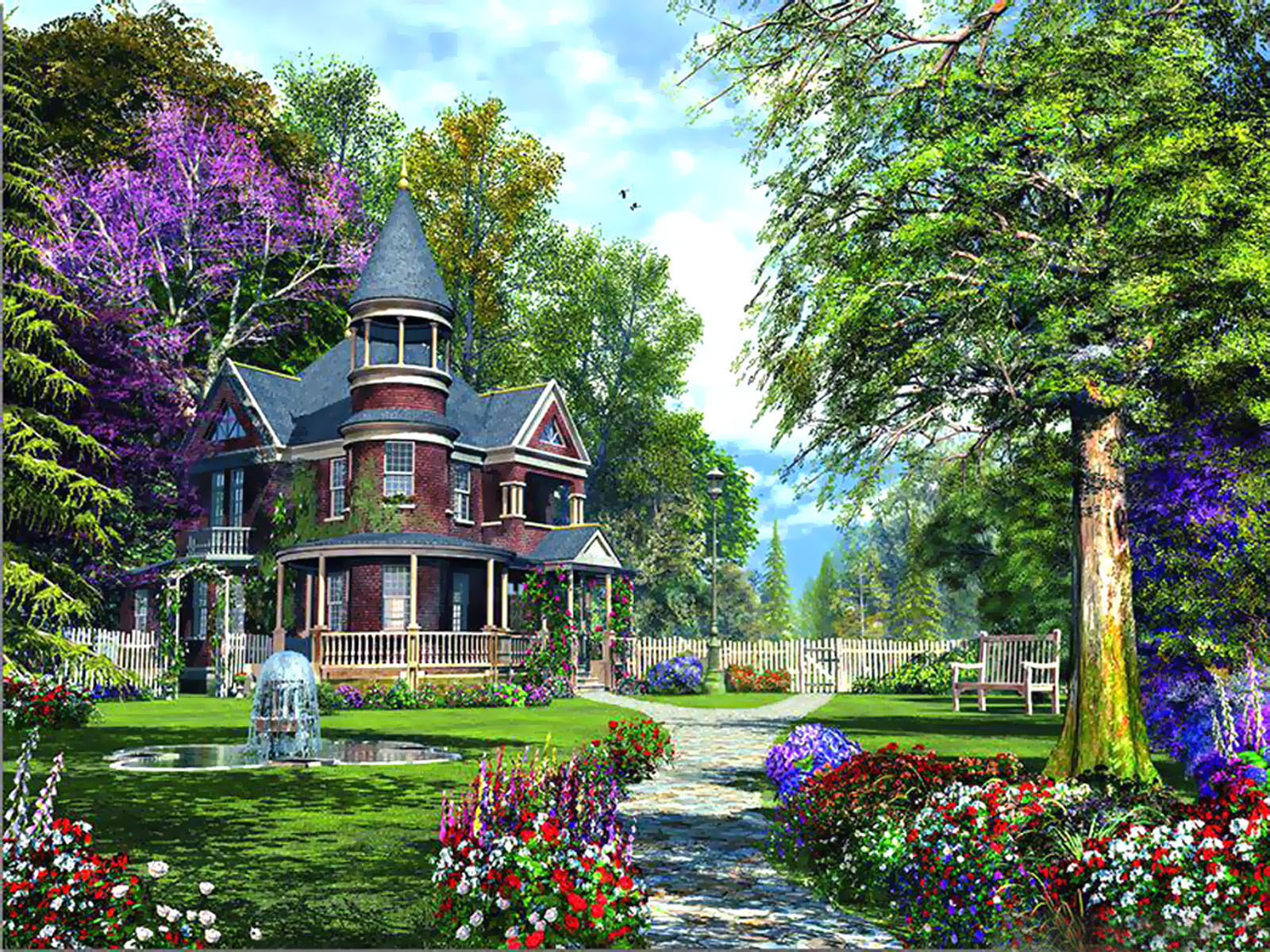Wallpapers fair luxurious flower garden hd widescreen for Classic house with flower garden