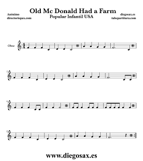 Partitura de En la Granja del Viejo MacDonald para Oboe Canción Popular Infantil USA Old MAcDonald Had a Farm Music Score Oboe Sheet Music Children's song