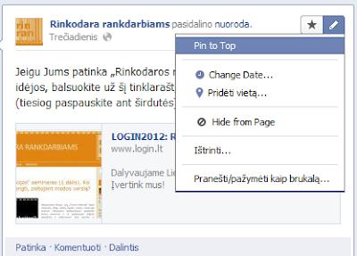 """""""Facebook""""""""Timeline"""": kaip iškelti įrašą puslapio į viršų"""