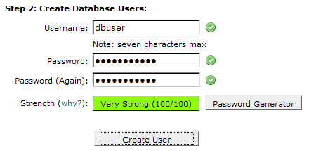 how to create user in mysql database with password