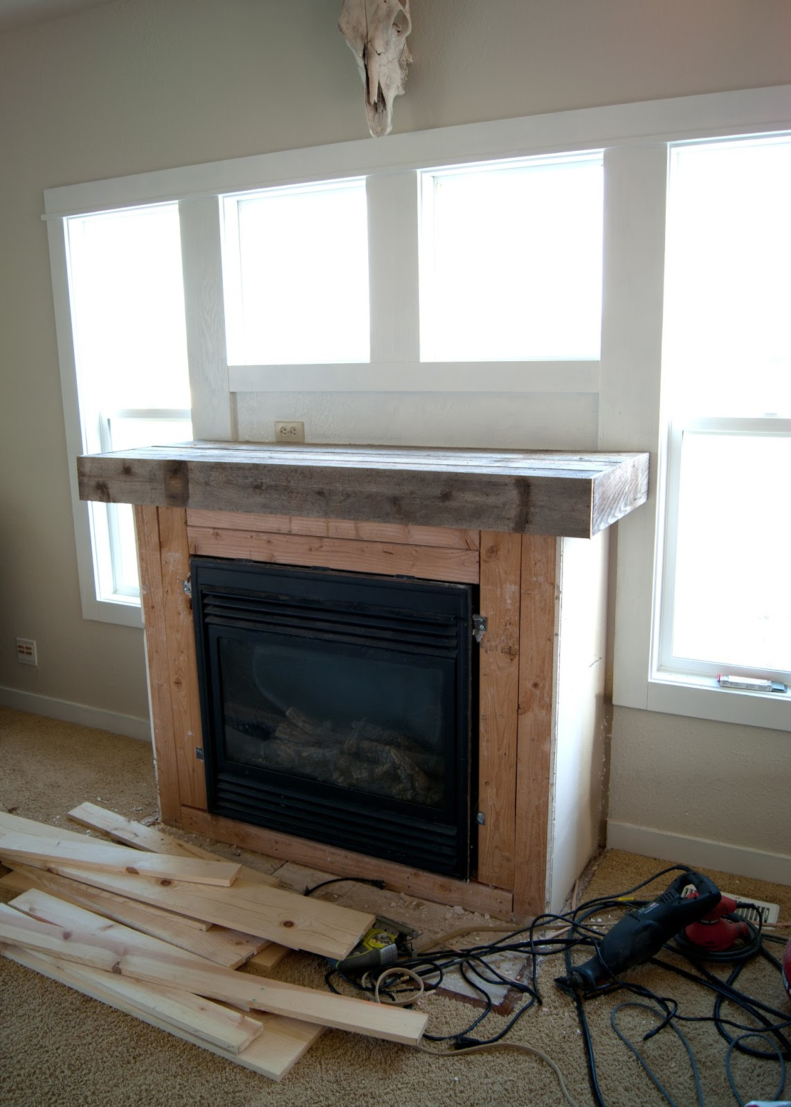 Before adding planks + reclaimed wood mantel - Fireplace Makeover