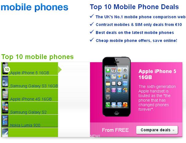 Top 10 Mobile Phones di Inggris