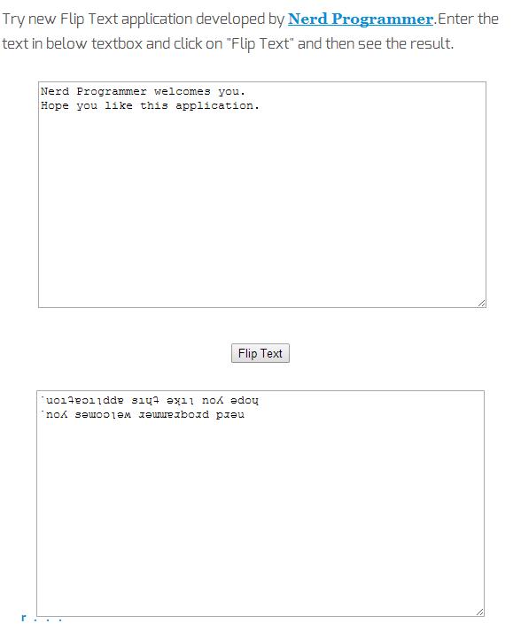 Flip Text by nerd programmer