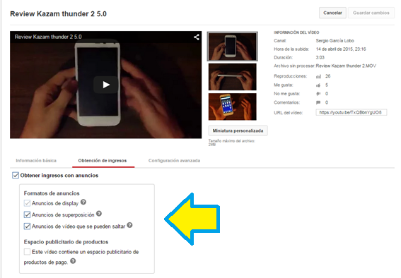 Activar, YouTube, Monetización