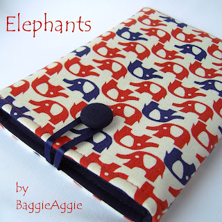 Quirky Handmade Fabric 'Elephants' eReader / Tablet Sleeve,Kindle,Kobo,iPad Mini,Nexus 7,Galaxy Tab,Blackberry Playbook,red,navy blue,natural,UK.
