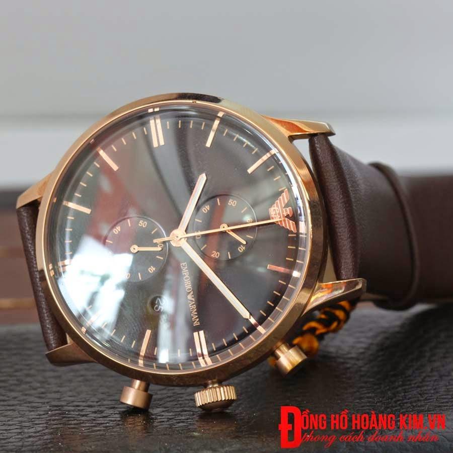 Đồng hồ armani dây da màu nâu