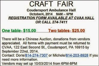 10-4 Craft Fair Coudy Ambulance Assn.
