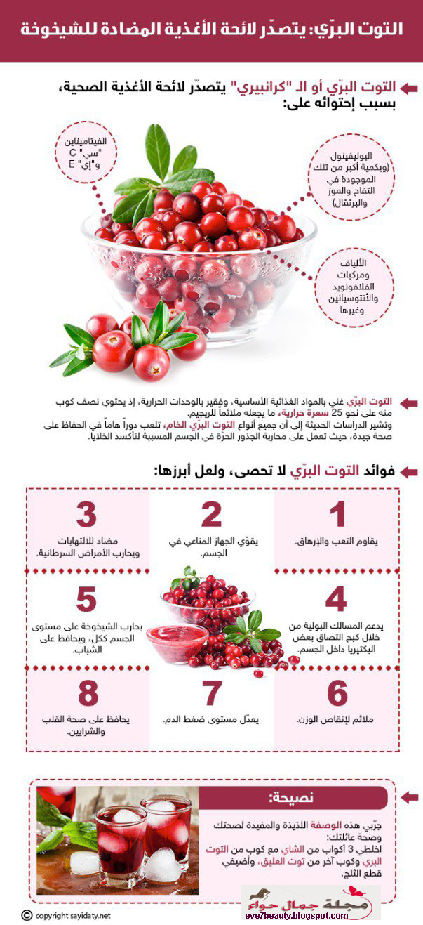 التوت البرّي يتصدّر لائحة الأغذية المضادة للشيخوخة cranberry