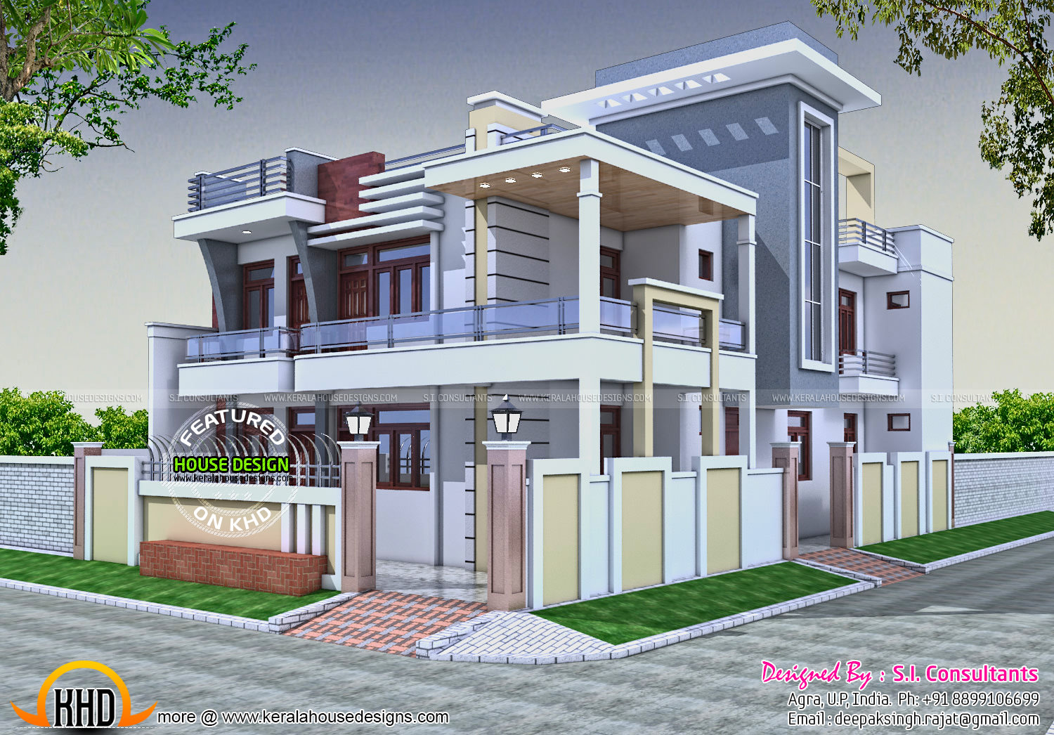 36x62 decorative modern house in india kerala home for Modern indian house plans
