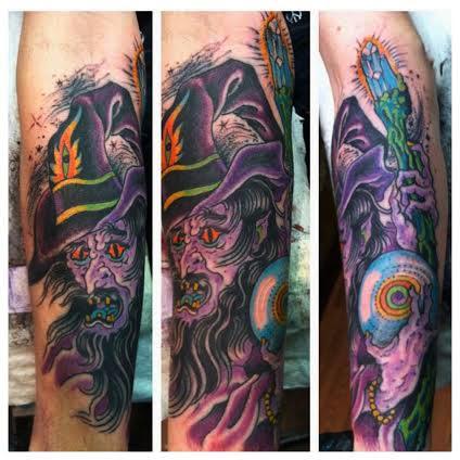 Purple wizard tattoo by tattoo artist Jason Kunz for Triumph Tattoo