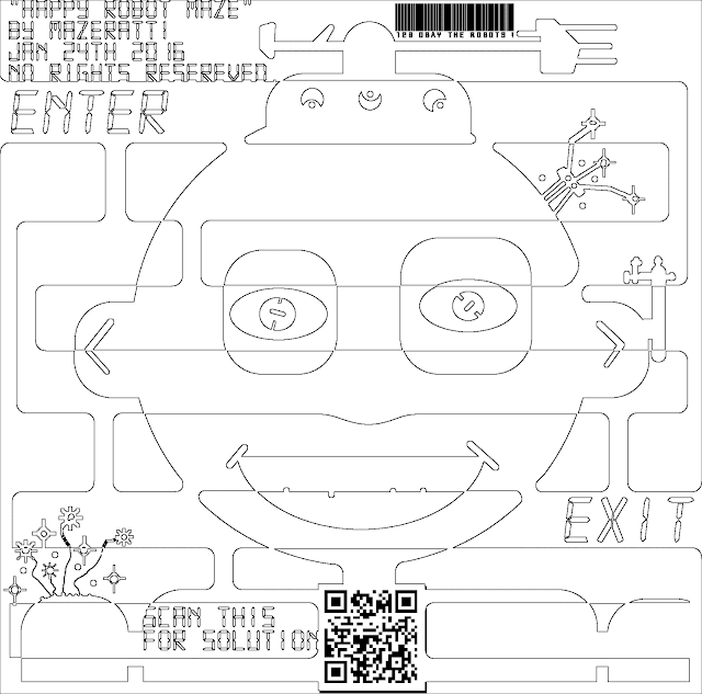Happy Robot Maze and Coloring For Adults Page