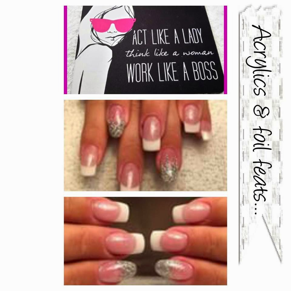 Metallic VIP silver feats and simple nail art hard UV/led gel acrylic overlays and Shellac manicure's acrylic extensions and French Shellac