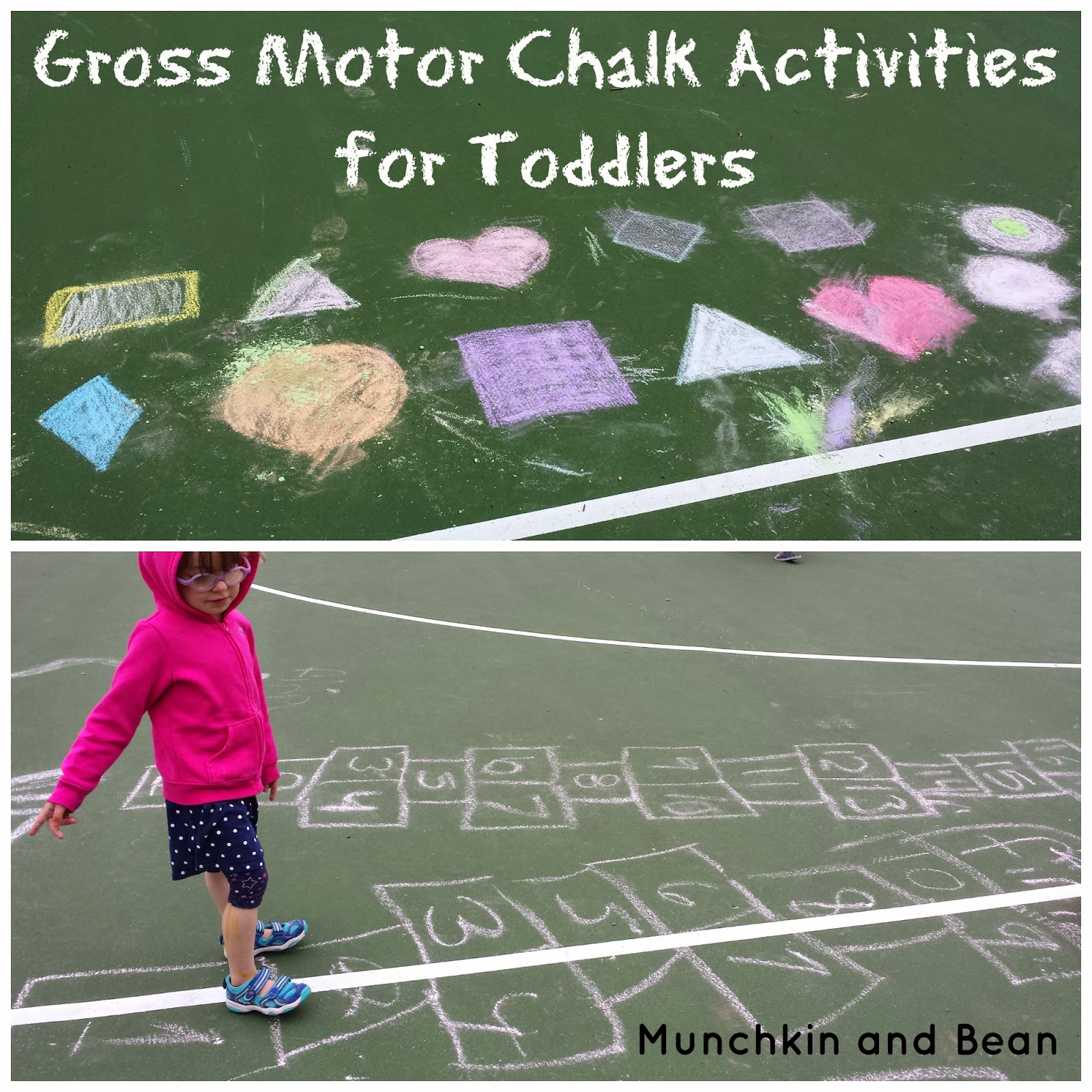 Munchkin and bean gross motor chalk activities for toddlers for Gross motor activities for preschoolers lesson plans