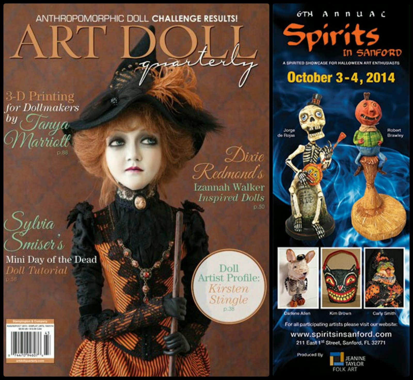 Spirits in Sanford ad Art Doll Quarterly Fall 2014  on newsstands August 1st