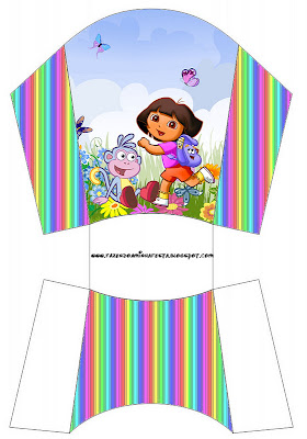 Cajita para imprimir gratis de Dora la Exploradora para papas o patatas fritas