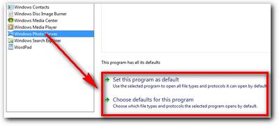 Memilih default programs