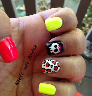 Neon Skull Leopard Nail Art