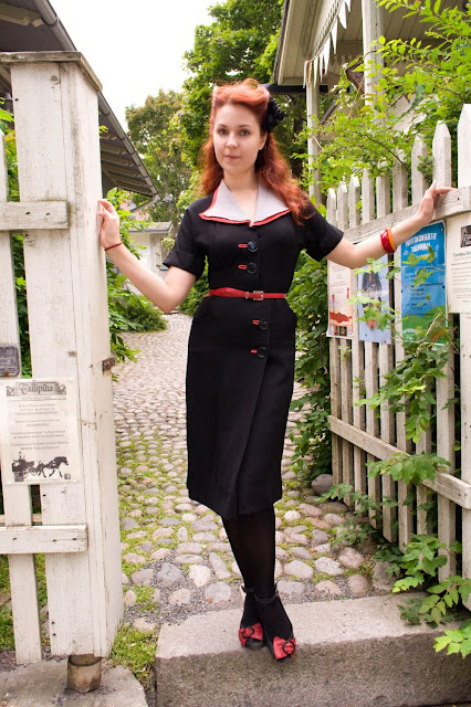 40s vintage black rayon dress at Vintage Follies