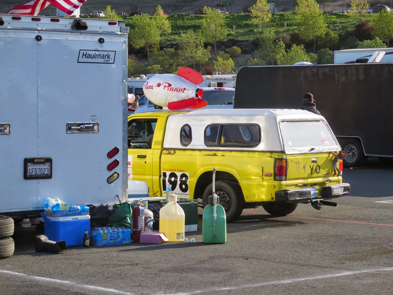 Mike Camicia's Gunn High School Pizza Planet Truck Replica at Sonoma Raceway