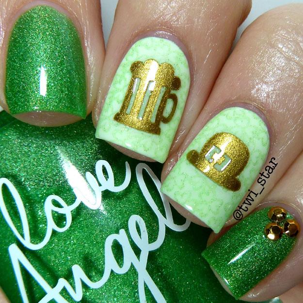 Love Angeline Green Holo Polish My Life Green Bikini St Patricks Day mani