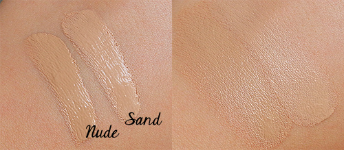 elf studio maximum cover concealer swatches nude and sand