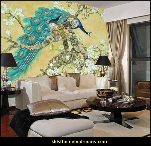 Decorating theme bedrooms maries manor peacock theme for Chinese mural wallpaper