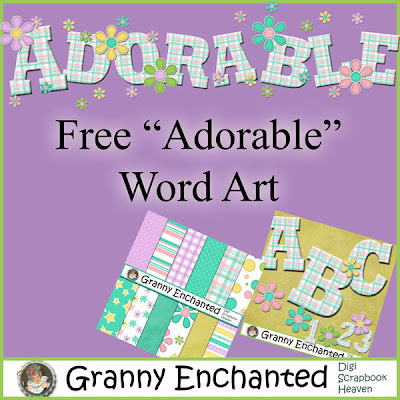 "Free ""Babbers"" ""Adorable"" Digital Scrapbook Word Art"