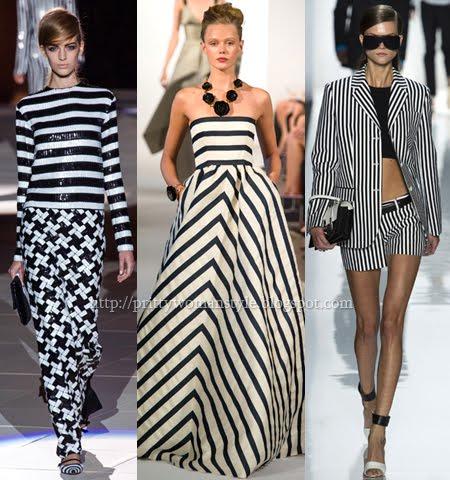 Модерни дамски дрехи пролет-лято 2013 Черно-Бяло Райе