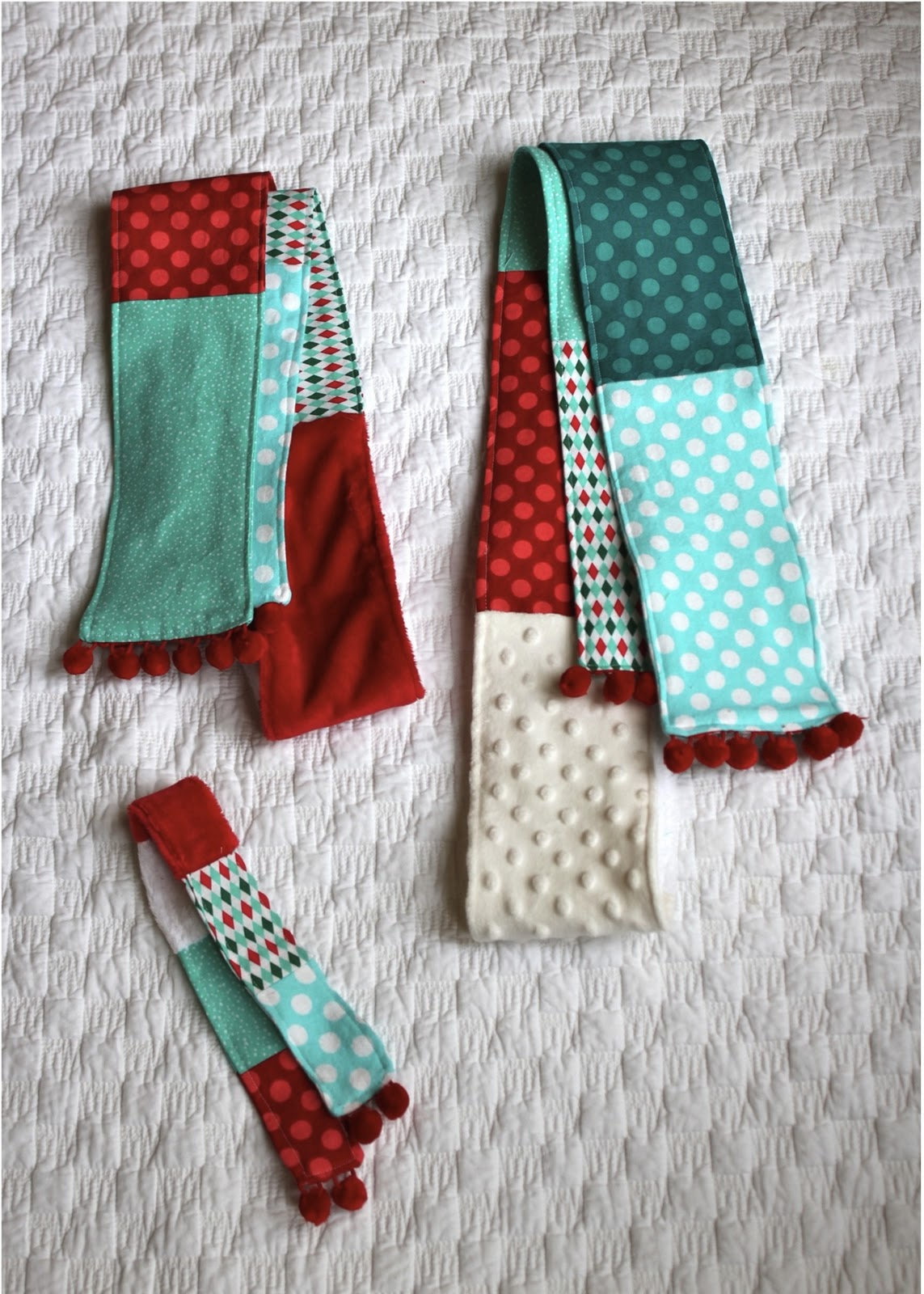 Homemade christmas patchwork scarves the homes i have made