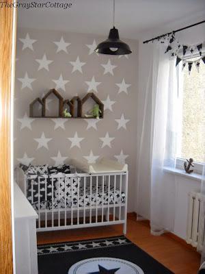 pokój dla chłopca ściana w gwiazdki
