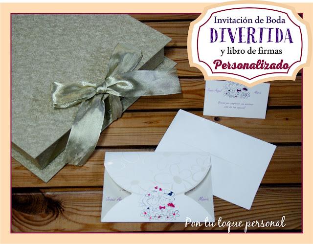 invitacion boda divertida informal y libro de firmas personalizado