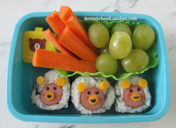 Hot dog bear sushi, Yummy Kawaii bento book review, Bento school lunches