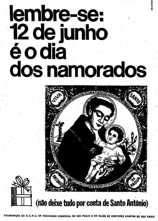Propaganda do Dia dos Namorados em 1967: Santo Antônio foi o protagonista da campanha paulista.