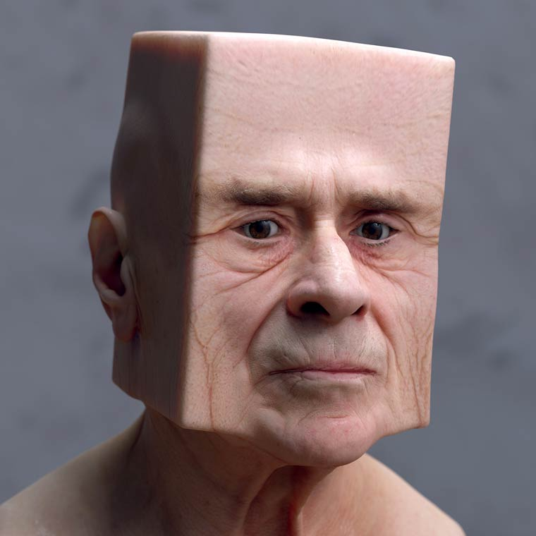 Artista Lee Griggs deforma cabeças em formatos surreais com arte digital 3D