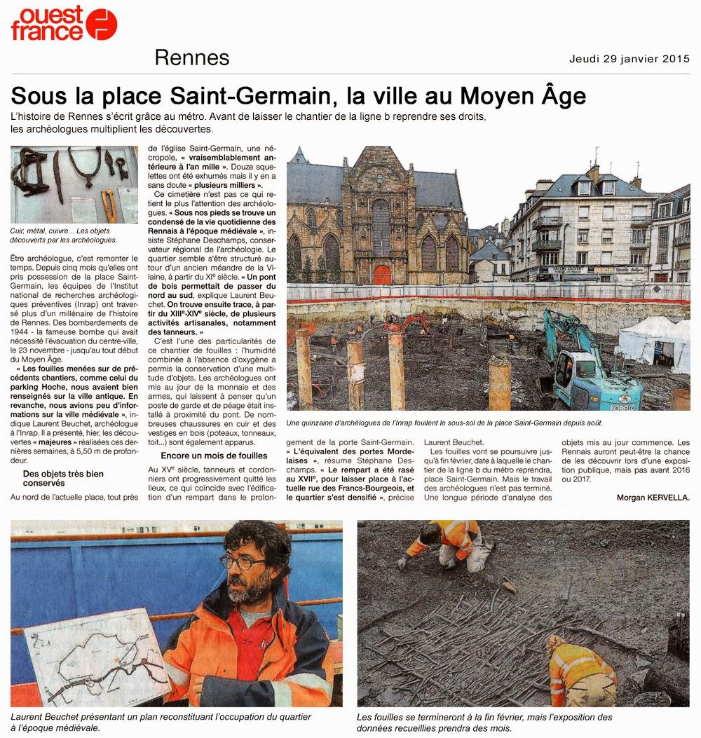 Article de Ouest-France - Pages Rennes - Jeudi 29 janvier 2015