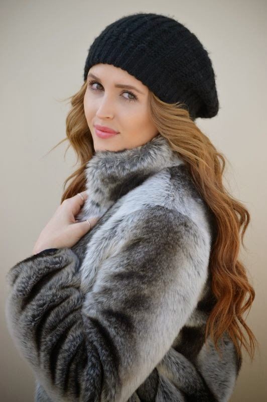 BCBG Faux Fur Jacket- Black Beanie-Winter Style- LA personal style blogger- Golden Divine Blog