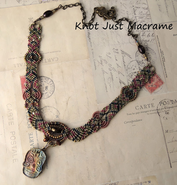 Micro Macrame Sugar Skull necklace by Sherri Stokey of Knot Just Macrame