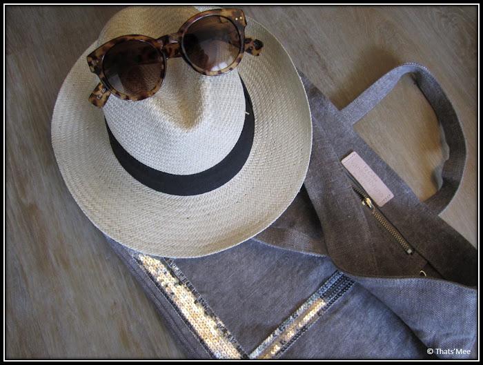 chapeau panama Roland Garros, lunettes rondes écaille my little box, sac cabas Vanessa Bruno lin sombre paillettes argentées