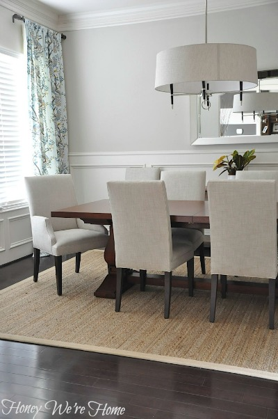 Honey we 39 re home clear spaces at home for Dining room table on rug
