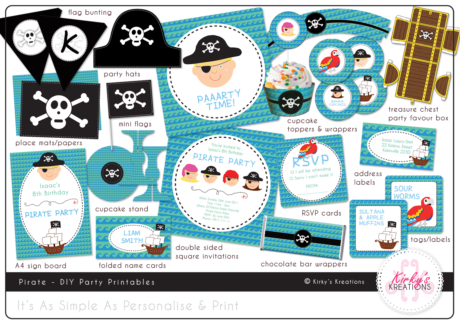 KIRKYs BLOG Pirate Princess DIY Party Printables – Princess and Pirates Party Invitations