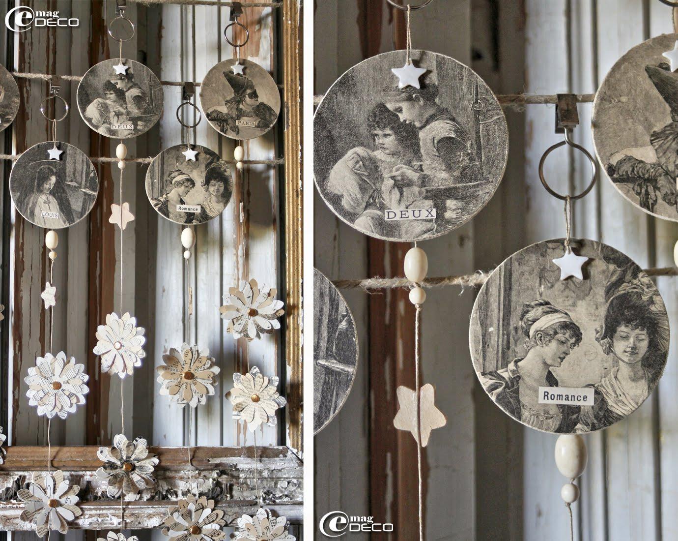 Détails des médaillons illustrés composant différentes Guirlandes Sylvestre pour un décor de Noël
