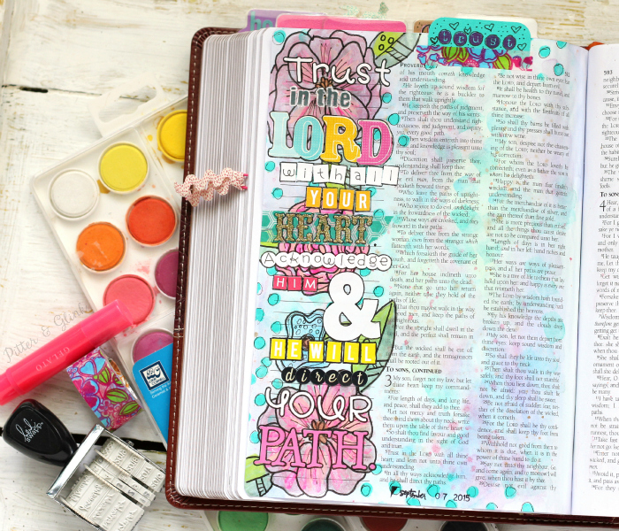 Proverbs 3:5-6 illustrated in a journaling Bible using watercolor and stickers.  There's a process video for the page! www.pitterandglink.com